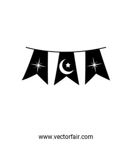 ramadan concept, decorative pennants with islamic related icons, line style