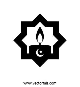 eid mubarak concept, islamic star with candle icon, line style