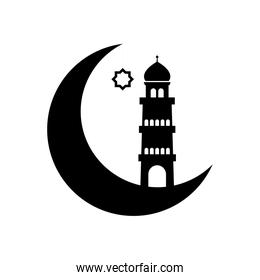 ramadan concept, crescent moon and mosque tower icon, line style