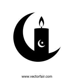 ramadan concept, crescend moon and candle icon, line style