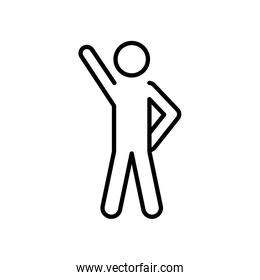pictogram man with leader pose, line style
