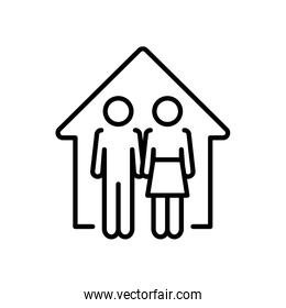pictogram couple in the house icon, line style
