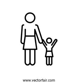 pictogram woman with little girl icon, line style