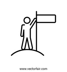 pictogram man on the top with leader pose