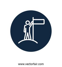 pictogram man on the top with leader pose, line block style