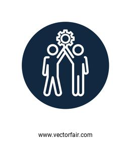 pictorgam men standing and holding up a gear wheel icon, line block style
