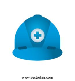 blue safety helmet with medical cross icon, gradient style