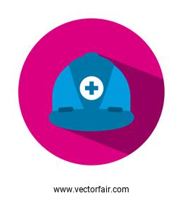 blue safety helmet with medical cross icon, block style