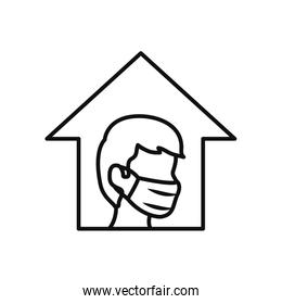 stay home concept, man wearing mouth mask inside the house, line style
