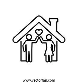 stay home concept, house and pictogram couple icon, line style