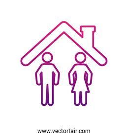 pictogram couple at home icon, gradient style