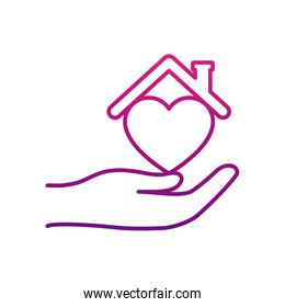 stay home concept, hand with heart and house roof, gradient style