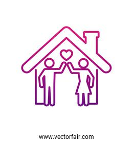 stay home concept, house and pictogram couple icon, gradient style