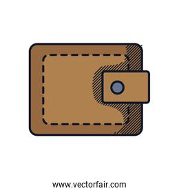mens wallet icon, line and fill style