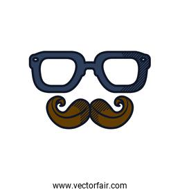 happy fathers day concept, glasses and mustache icon, line and fill style
