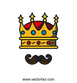 Happy fathers day concept, King crown and mustache icon, line and fill style