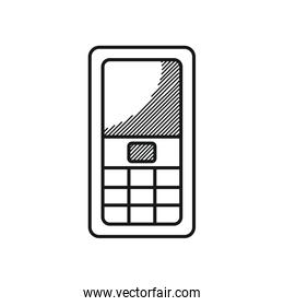 Happy fathers day concept, cellphone device icon, line style