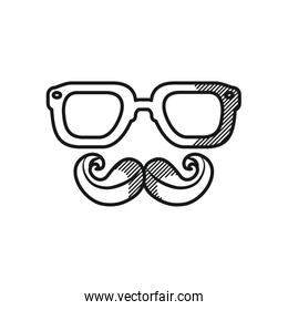 happy fathers day concept, glasses and mustache icon, line style