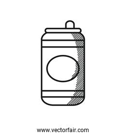 Happy fathers day concept, beer can icon, line style