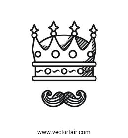 Happy fathers day concept, King crown and mustache icon, line style