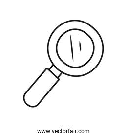Stationary concept, magnifying glass icon, line style