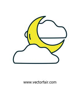 moon and clouds icon, line and fill style