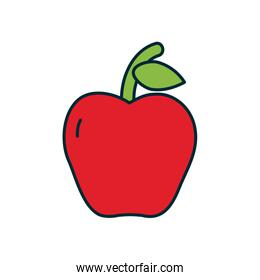apple fruit icon, line and fill style
