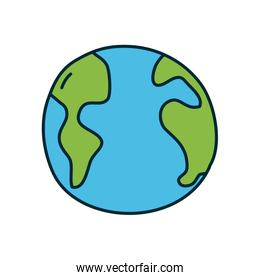 earth planet icon, line and fill style