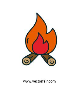 bonfire icon, line and fill style