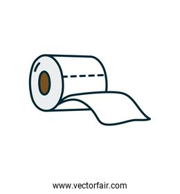 toilet paper icon, line and fill style