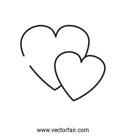 hearts icon, line style