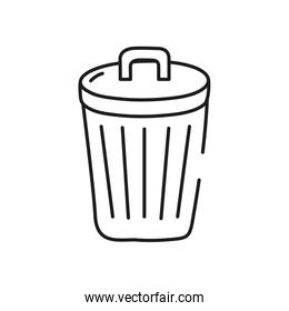 garbage can icon, line style