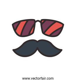 Mustache and glasses flat style icon vector design
