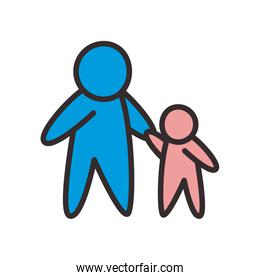 Father and son avatar flat style icon vector design