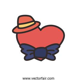 Heart with bowtie and hat flat style icon vector design
