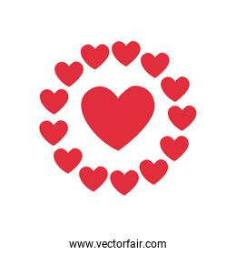 Heart with hearts circle flat style icon vector design