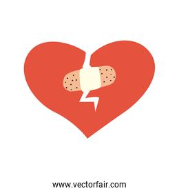 Broken heart with adhesive band flat style icon vector illustration