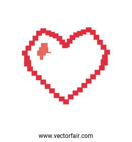Pixel heart flat style icon vector design