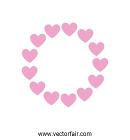 Hearts circle flat style icon vector design