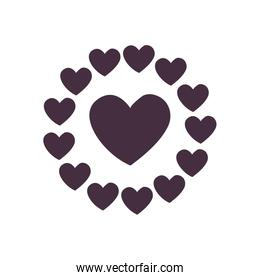Heart with hearts circle line style icon vector design