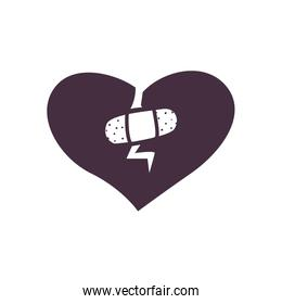 Broken heart with adhesive band line style icon vector illustration