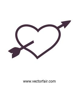 Heart with arrow line style icon vector design