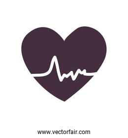 Heart with pulse line style icon vector design