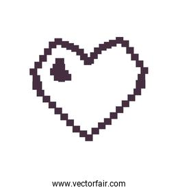 Pixel heart line style icon vector design