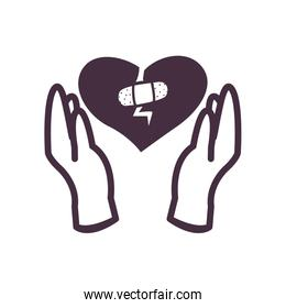 Broken heart with adhesive band line style icon vector design