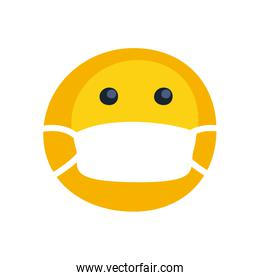 Emoji with mask flat style icon vector design