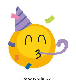 Happy emoji face with party hat flat style icon