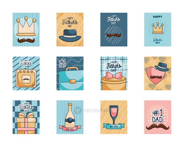 hats and Happy fathers day cards icon set