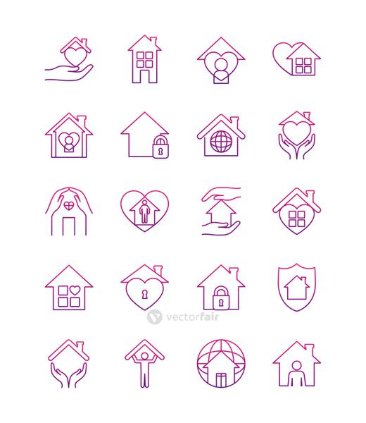 hands and stay home icon set, line style
