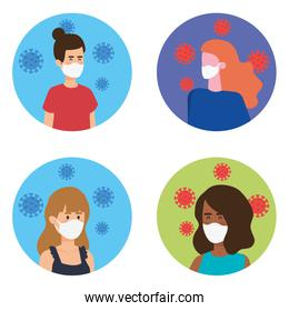 group women using face mask with particles covid 19